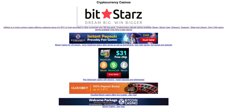 Bitcoin casino free spins book of dead